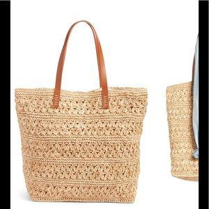 Packable Raffia Crochet Tote NWT